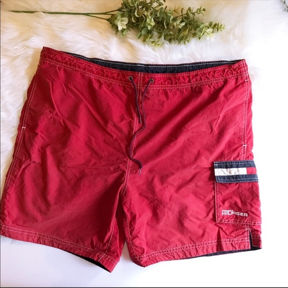 d232ae7f02 Tommy Hilfiger Shorts | Vintage 90s Red Swim Trunks L | Poshmark
